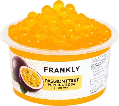 FRANKLY Popping Boba - Fruchtperlen für Bubble Tea, Joghurt, Kuchen und Desserts (Passionsfrucht, 490g)