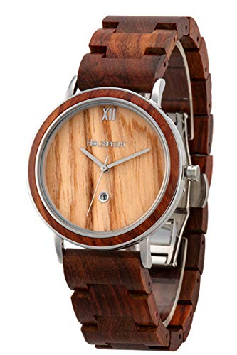 Holzspecht Holzuhr Feuerkogel Rotes Sandelholz/Olive | handgefertigte Armbanduhr aus Holz | Unisex