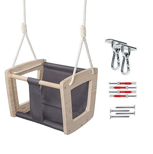 MAMOI Babyschaukel Schaukel Baby Holzschaukel Erwaschsene Indoor Designer Kinderschaukel Schaukelsitz Babysitz Holz ECO bis 30kg! | Made in EU ECO | CE-Zertifikat (In der Farbe Grau + Haken)