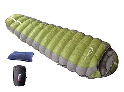 Fengzel Outdoor マミー型寝袋 2020年新版 左右開閉 伸縮性優れ弾力線縫製 220*90(55)cm ダウン93% 860FP 400-2500g高級羽毛充填アウトドア キャンプ ファミリー用 コンパクト極限耐寒 ダウンシュラフ(グリーン