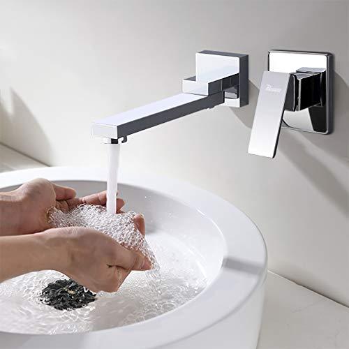 Unterputz Waschtischarmatur Wandmontage Wasserhahn Wand Armaturen für Badezimmer 2-Loch Chrom PHASAT BC01E