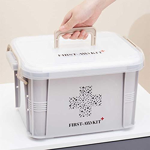 N / A Erste-Hilfe-Kit Box Medizinbox Plastikbehälter Notfall-Kit Tragbar 2-lagig Medizinischer Speicherorganisator mit großer Kapazität 33,5 * 23,5 * 20 cm