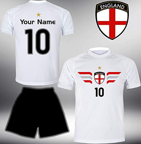 DE-Fanshop England Trikot Set 2018 mit Hose GRATIS Wunschname Nummer im EM WM Weiss Typ #EN4th - Geschenke für Kinder Erw. Jungen Baby Fußball T-Shirt Bedrucken