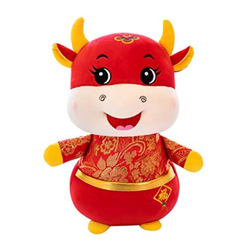 Nouvel an chinois du boeuf en peluche, jouet de poupée en peluche douce en forme de vache mignonne, poupée animale décorative pour la maison, ornement de vacances, cadeau pour enfants