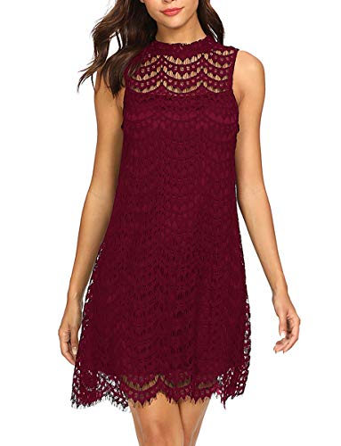 Romwe Women's Lace Sleeveless A Lin…
