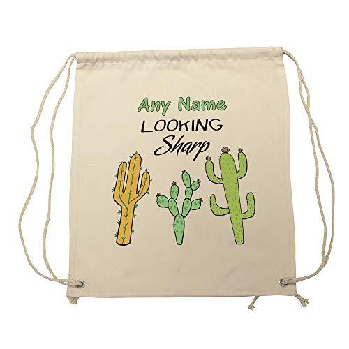 UNIGIFT gepersonaliseerd cadeau - op zoek Sharp Bag (Plant Slogan ontwerp wit) elke naam bericht uniek - Cactus