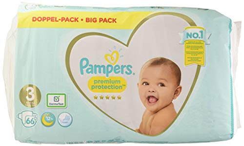 Pampers Pañales Premium Protection, talla 3, 6-10 kg, 66 pañales
