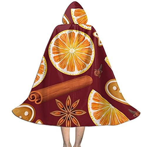 Donono, mantello lungo con cappuccio unisex per bambini, con motivo spezie, biscotti a vela arancione per Halloween, cosplay e feste di ruolo, Nero , S