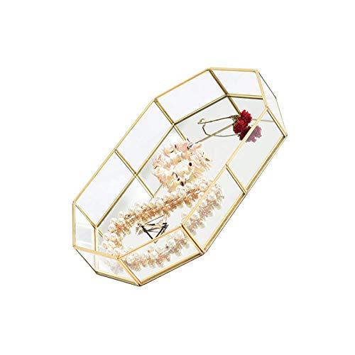 YuuHeeER Espejo Bandeja Organizador Cosméticos Vidrio Vintage Almacenamiento Perfume Oro