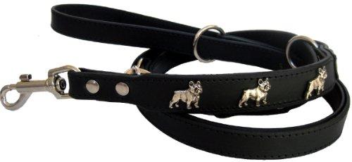 Dogs Stars - Corda robusta in pelle con bulldog francese, 210 x 2 cm, colore: nero, marrone o blu jeans