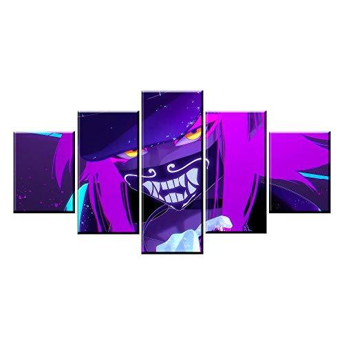WARMBERL Peintures Sur Toile Décor À La Maison Toile Photo 5 pièces De Graffiti Alliance Jeu Peinture Affiche Mur De Toile Prints on Canvas Framed