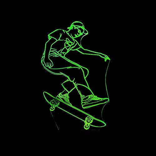 LIkaxyd 3D Optische Illusions Lampen,Neues Skateboard,7 Farben Allmählich Wechselnde Touch Switch Usb Tischlampe,3D Illusion Lampe Led Nachtlicht,Das Beste Geschenk Für Kinder!