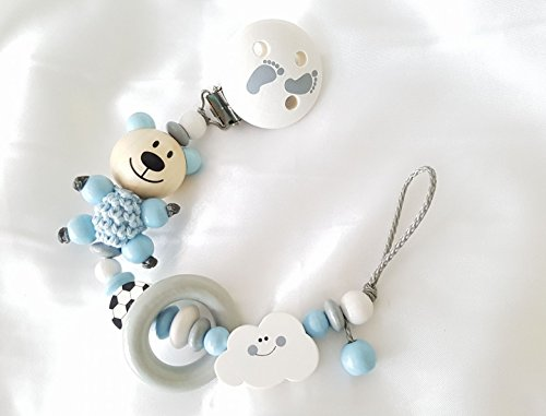 Schnullerkette ohne Namen (Teddy, Fußball, Wolke, Babyblau, Grau)