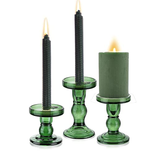 Vintage Candle Holders for Pillar Candles - Glass Candlesticks Candle Holders, Vintage Table Candlesticks Pillar for Home Wedding Candlelight Dinner Decoration(S+M+L)
