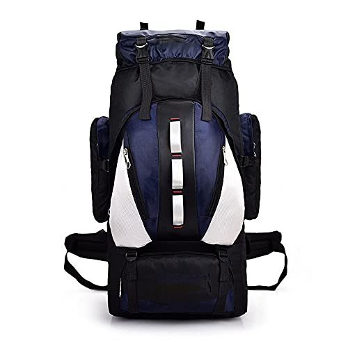 Grande capacità per sport all aria aperta 90L con comodo schienale imbottito, zaino impermeabile da viaggio per escursionismo, campeggio, alpinismo Blu scuro 90 cm (L)