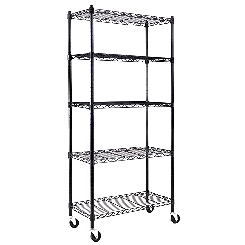 EFINE 5-Shelf Shelving Units and Storage on 3'' Wheels, Adjustable Heavy Duty Carbon Steel Wire Shelving Unit for Garage, Kitchen, Office, (30W x 14D x 63.7H) Black