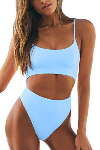 Meyeeka Womens Scoop Neck Cut Out Front Lace Up Back High Cut Monokini One Piece Swimsuit (M, Light Blue)