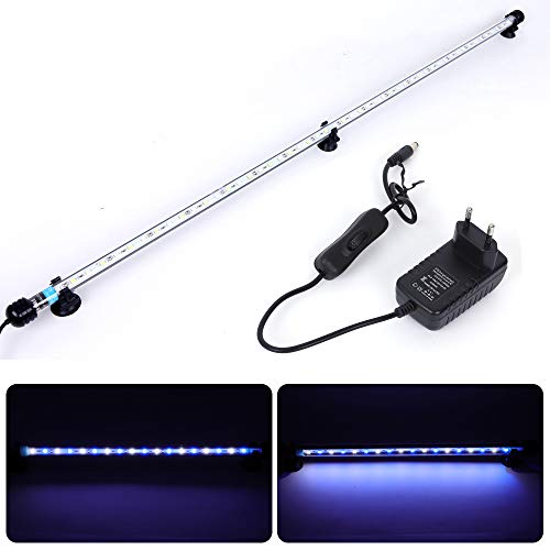 MLJ Aquarium Beleuchtung, LED Aquarium Leuchte 92 cm Wasserdicht Aquarium Lampe Stecker EU Unterwasser LED-Lichtbalken für Fisch Tank (Weiß & Blau)