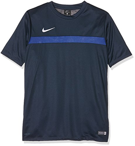 NIKE Academy16 YTH SS Top Camiseta, Niños, Negro/Azul/Blanco (Obsidian/Deep Royal Blue/White), XS