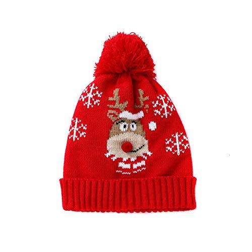 dingtian Sombrero de Navidad Sombrero de Navidad Rojo Niños Navidad Lindo Cartoon Fawn Copo de nieve Gorro de punto Invierno Nieve Sombrero de Fiesta Beanie Cap
