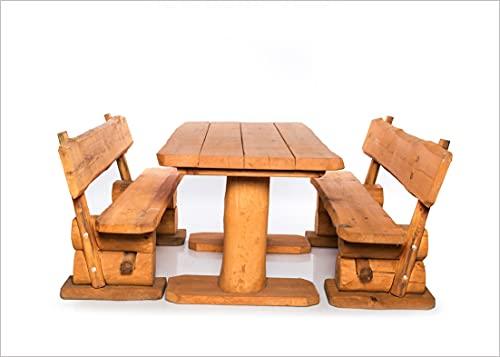 Massive rustikale Sitzgarnitur - Gartengarnitur - Aus heimischer Kiefer - Mit Holzschutzlasur behandelt (160 cm)