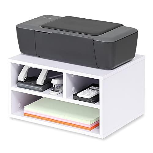 FITUEYES Desk Organiser Wood White with 3 Storage Office Supplies Printer Stand 40x30x22cm...