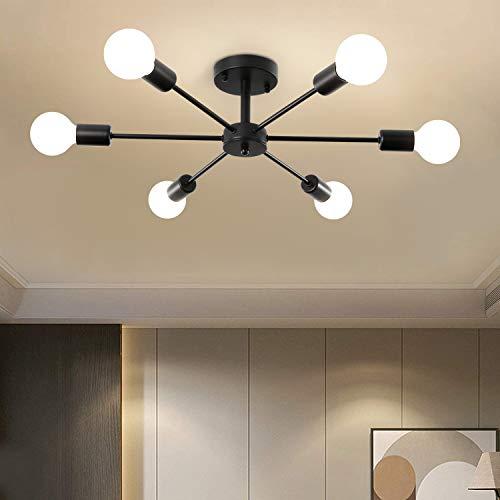 Moderna lámpara de araña Sputnik 6 luces, semirempotrable montaje lámpara de techo negro colgante para dormitorio sala de estar cocina comedor restaurante