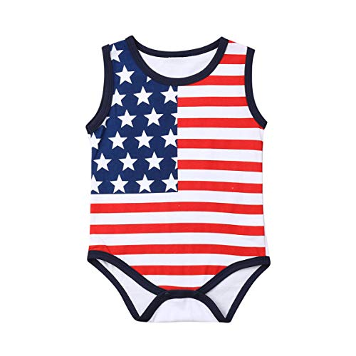 Lzxuan 4th of July Baby Boys Girls Romper Newborn American Flag Flag Jumpsuit One-Piece Bodysuit...