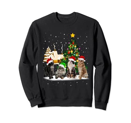 Noël Chats Arbre de Noël Lumineux Déco Drôle Chat Cadeau Sweatshirt