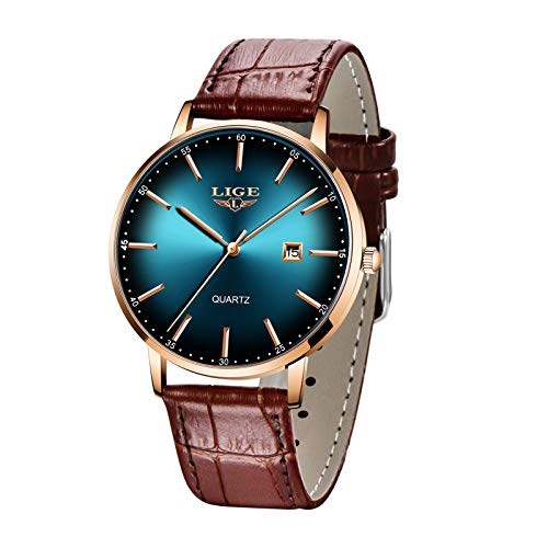 Relojes LIGE para Hombre Ultrafino Impermeable...