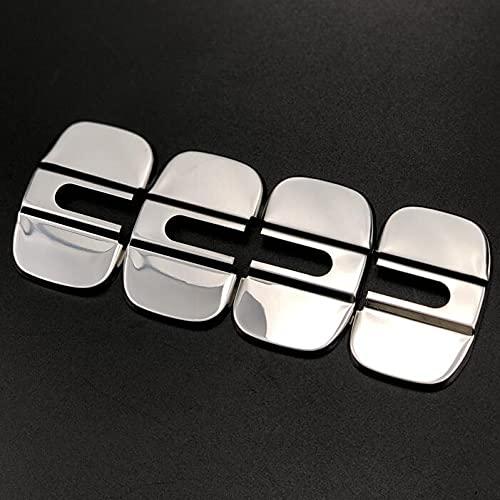 DIANXM para Te-SLA MO-del X 2016 2017 2018 Modelo S 2012-2018 Cerradura de Puerta Hebilla Hebilla Striker PROTECCIÓN DE PROTECCIÓN Capa Pegatina Pegatina Car-Styling (Color : Stainless Steel 4pcs)