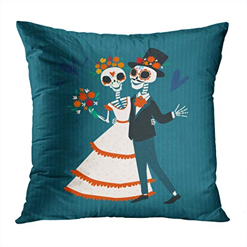 Llsty Throw Pillow Cover Polyester Print Skeletons Bride Groom Love...