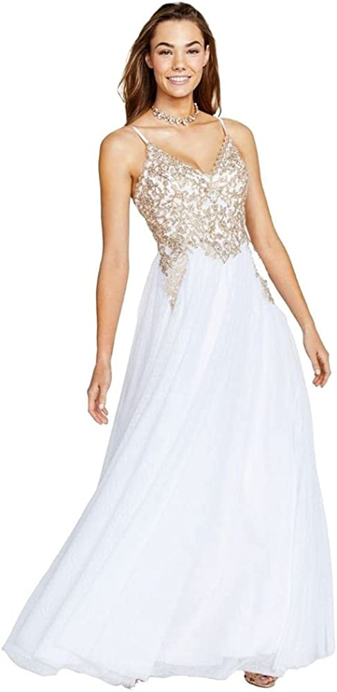 Say Yes to the Prom Women's Ivory Embellished Sheer Spaghetti Strap Sweetheart Neckline Full-Length Formal Dress Size 3