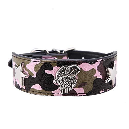 Collar de Moda para Mascotas Anillo de Cuello de Cuero Suave de PU para Cachorros Pitbull Perros pequeños medianos(M-02)