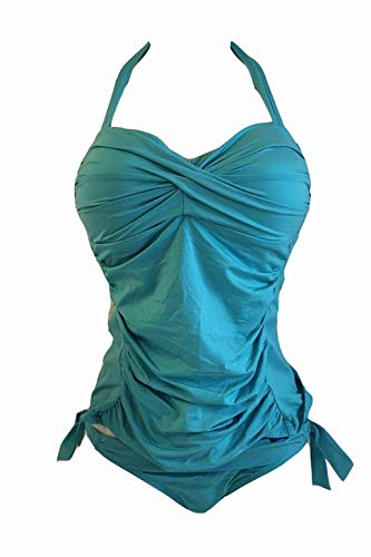 Cyell Damen Tankini Set Cup 80D / Gr. 38 Türkis Monroe Aqua Swim Bikini #X113