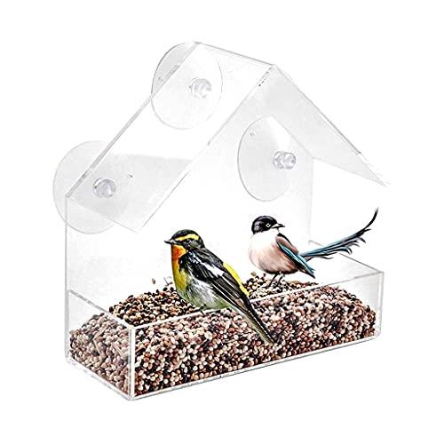 ZCWYP Bird Feeder Acrylic Transparent Window Viewing Bird Feeders Tray Birdhouse Pet Water Feeder Suction Cup Mount House Type Feeder