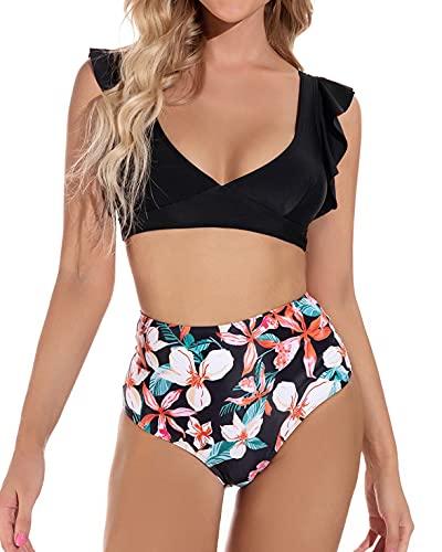 heekpek Conjunto de Bikini Traje de Baño Mujer Sexy Bañador Estampado de Flores Top con Volantes Braga Talle Alto para Dos Piezas Ropa de Playa Tallas Grandes Sujetador Acolchado(A,XL)