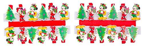 Toyland Packung mit 24 Mickey & Minnie Mouse-Weihnachtsnägeln - Weihnachtskartenhalter - Neuheitendekorationen