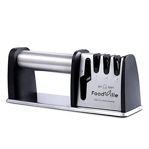 FoodVille KS03 4 Stage Professional Kitchen Knife Sharpener with Full Stainless Steel Handle Tungsten Steel Emery and Zirconia Ceramic Slot for Chef Knife Straight Knife and Scissors