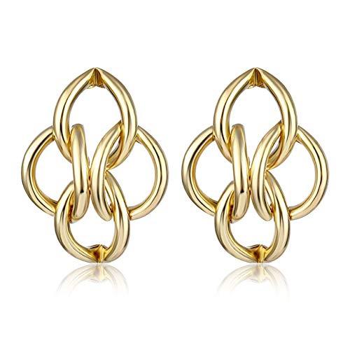 Orecchini pendenti in lega d'argento dorato per donna Orecchini esagerati Matrimonio Gioielli moda semplice Accessori di tendenzaColore oro