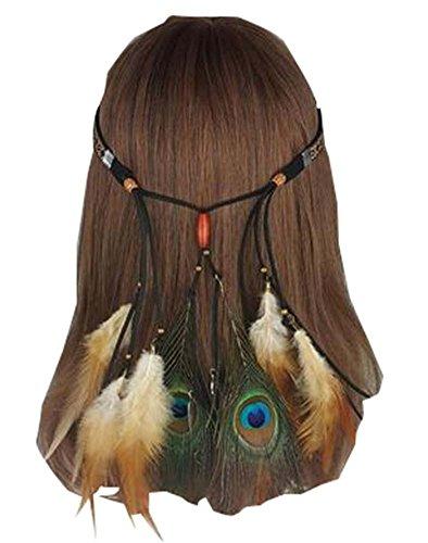 Bandeau hippie bandeau avec bandeau en plumes de paon rétro, noir