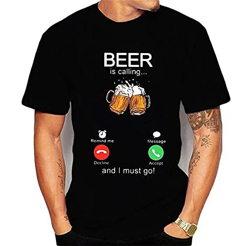 Casuales Camisas Hombre Verano Clásica Moda Cuello Redondo Ajuste Regular Hombre Shirt Moderno Creativo Cerveza Impresión Hombre Camiseta Diaria Casual Fiesta Hombre Manga Corta T25299 XXL