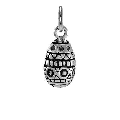 Ciondolo TheCharmWorks in argento Sterling a forma di piccolo uovo di Pasqua decorato