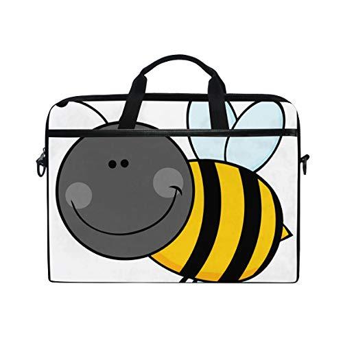 ZZCDD Smiling Bumble Bee Laptop Bag Personalized Laptop Shoulder Bag 15 Inch Computer Laptop Case Durable Laptop Messenger Bag Briefcase for Women Men