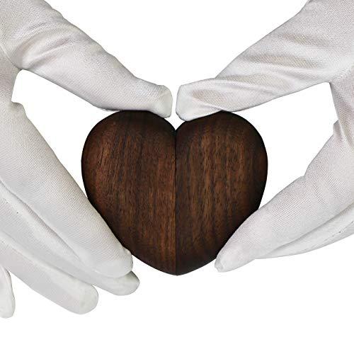 Caja del Anillo del Corazón Joyero de Madera Caja Joyero de para Compromiso y Boda (Brown)