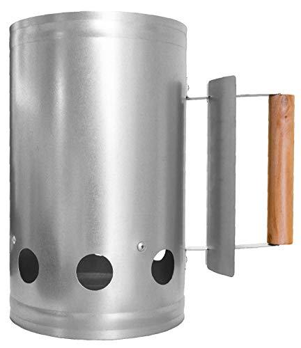 CampAir Anzündkamin aus Stahl, XL Kohlestarter mit Holzgriff und Hitzeschild