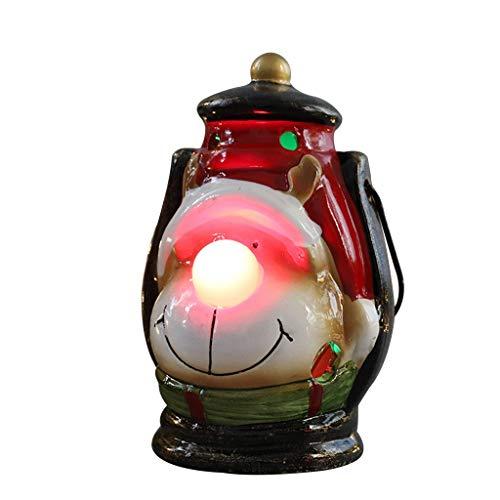 Décorations de Noël Veilleuse LED Ornements de Lanterne de Vent de Noël, Lot de 2 Lanternes D'Intérieur Décoratives, Lanterne Suspendue Extérieure, Bougie Décorative