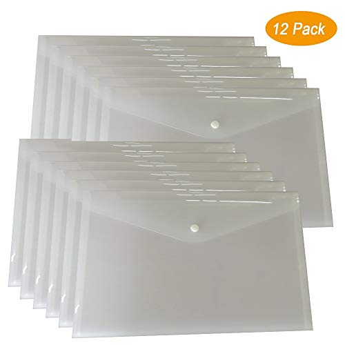 12 Plastic File Envelopes Clear Document Poly Envelope Folders Transparent Project Envelope Folders with Snap Button Closure A4 Letter Size (12 Packs Clear White)