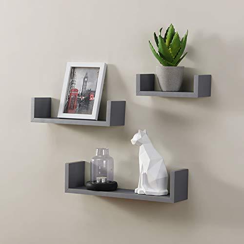 spot on dealz® Harmony Shelf Set of 3 Floating Wall Shelves Wall Decoration & Storage -Grey