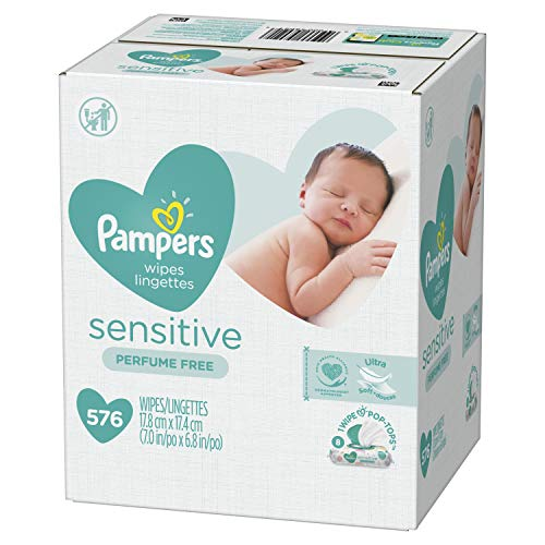 Baby Wipes, Pampers Sensitive Water Based Baby Diaper Wipes, Hypoallergenic and Unscented, 8 Pop-Top Packs, 576 Total Wipes (Packaging May Vary)